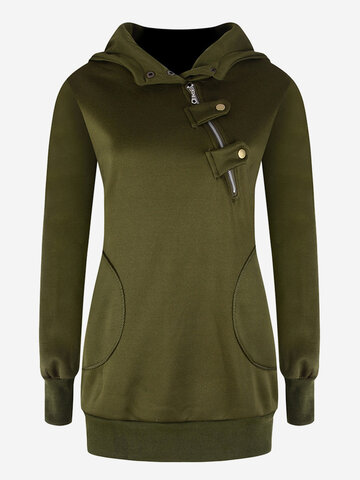 Casual Women Pure Color Long Sleeve Hooded Sweatshirts
