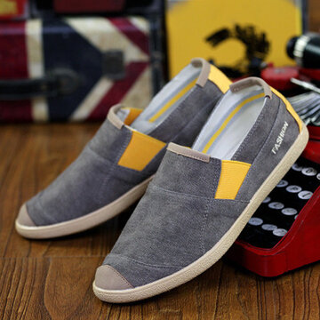 Color Mix Canvas Toe Protecting Lazy Casual Slip On Flat Loafers For Men