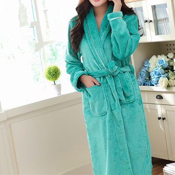 Cozy Soft Flannel Thicken Bathrobe Long Sleeve Nightgown For Women