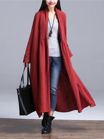 Повседневное Сплошное Плиссированное Длинное Пальто Для Женщин