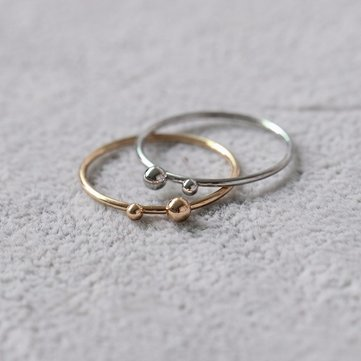 Simple Alloy Double Ball Thin Ring for Women