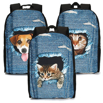 Women Student School Bag 3D Animal Cat Dog Backpack Shoulder Bags