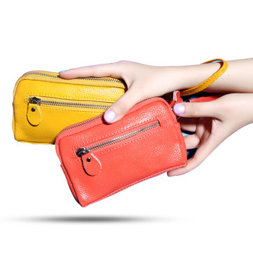 Women Elegant Genuine Leather Double Zipper Clutches Bag Ladies Cash Phone Cards Purse