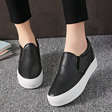 Rivet Metal Pure Color Korean Style Heel Increasing Platform Slip On Loafers