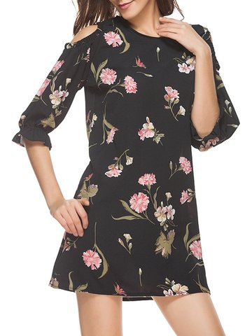 Casual Floral Print Cold Shoulder Half Sleeve O-neck Women Mini Dress