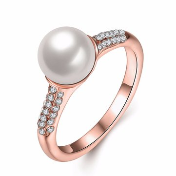 Luxury Simple Ring Rose Gold Pearl Rhinestone Ring for Women Gift