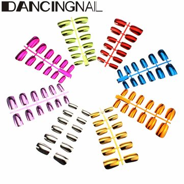 DANCINGNAIL 1 Pcs Metallic False Nails Art Tips French Short Paragraph 6 Sizes