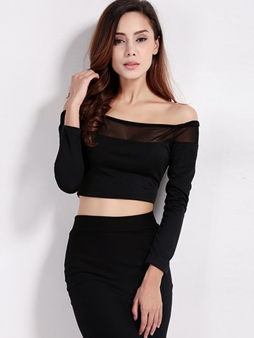 Women Sexy Off-shoulder Stitching See-through Tops de manga comprida