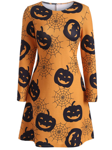 Halloween Pumpkin Spider Web Long Sleeve O-neck Women Dresses