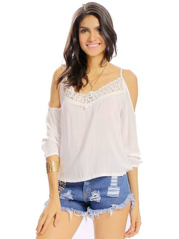 Women Sexy Off Shoulder Lace Stitching Backless Half Sleeve Tops