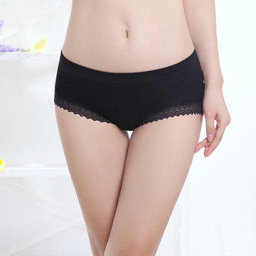 Sexy Lace Hem Seamless Soft Panties Breathable Low Waist Underwear For Women