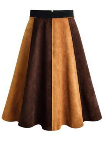 Casual Women Suede Fabric Patchwork Skirts