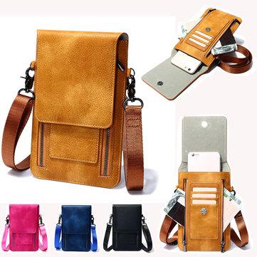 Vintage PU Leather Card Holder 6inch Phone Bag Shoulder Bag Crossbody Bags