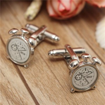 Men Alarm Clock Pattern Wedding Groom Shirt Cufflinks