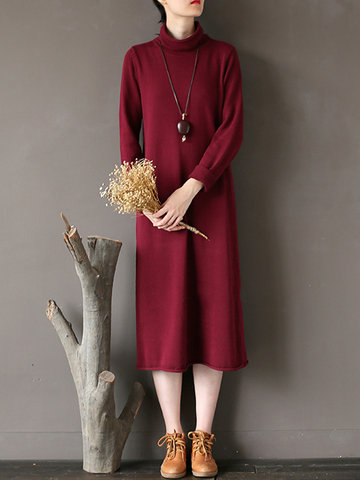 High Collar Knitted Sweater Dresses
