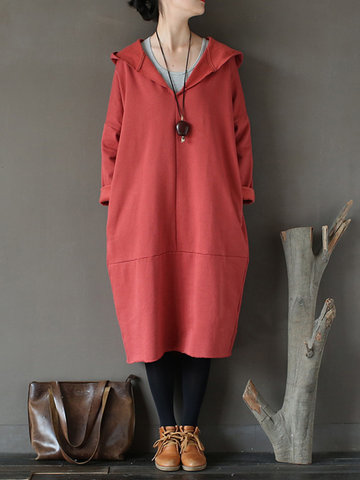 Casual Pure Color Thicken Hooded Loose Long Sleeve Women Dresses