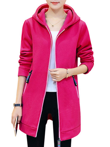 Casual Zipper Solid Color Women Hooded Coats