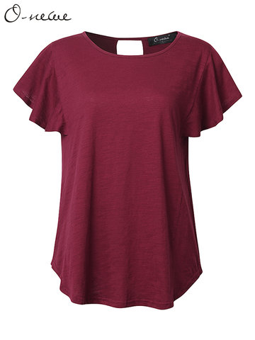 O-NEWE Casual Loose Flounced Back Hole Pure Color O Neck T-shirt