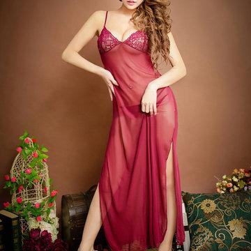 Сексуальная прозрачная вышивка Mesh Maxi Nightwear Длинное платье для пижамы для женщины