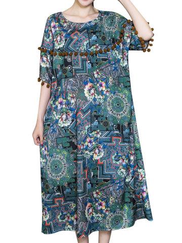 Vintage Loose O-образным вырезом карманные кружева печатные платья для богемы
