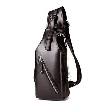 Business PU Chest Bag Solid Contracted Sling Bag Crossbody Bag For Men