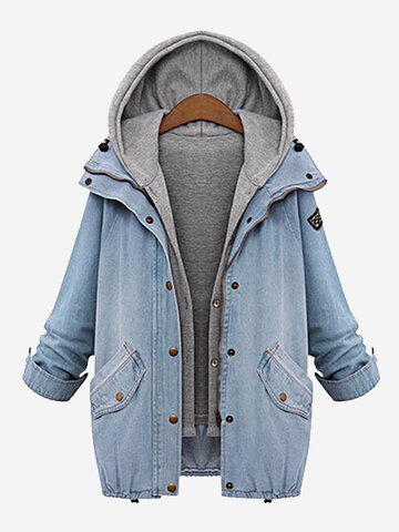 Casual Denim Drawstring Twinset Hooded Women Jacket Outerwear