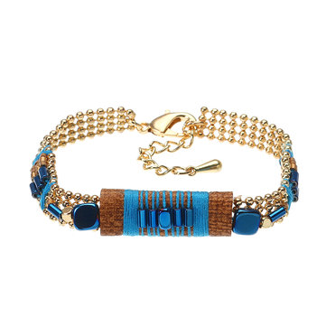 Charming Unique Blue Bracelet Bohemian Cuff Gold Plated Glass Bead Gift for Women