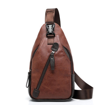 Men Retro PU Leather Crossbody Bag Capacity Leisure Shoulder Chest Bag