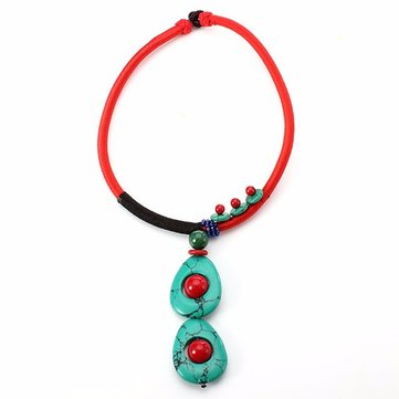 Ethnic Style Jewelry Cotton Choker Turquoise Beads Collar Necklace