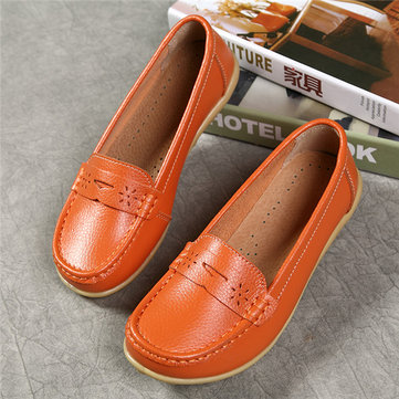 Big Size Pattern Leather Breathable Slip On Soft Flat Loafers