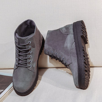 Big Size Pure Color Suede Lace Up Ankle Casual Boots For Women
