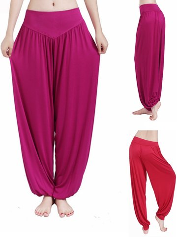 Cosy Loose Breathable Pure Color Dancing Sports Yoga Sweatpants