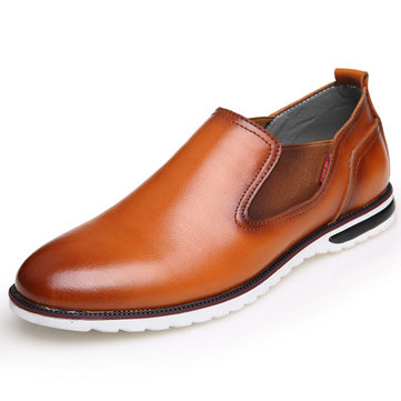 Men Leather Pointed Toe British Style Flat Casual Slip On Formal Shoes
