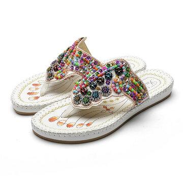 Красочные Rhinestone Bohemia плоские вышивки сандалии для женщин