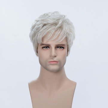 Short Gray Man Human Hair Wig