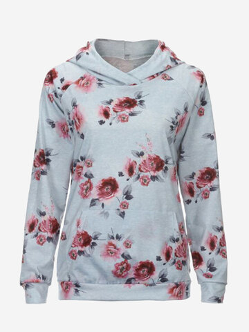 Floral Print Hooded Women Hoodies