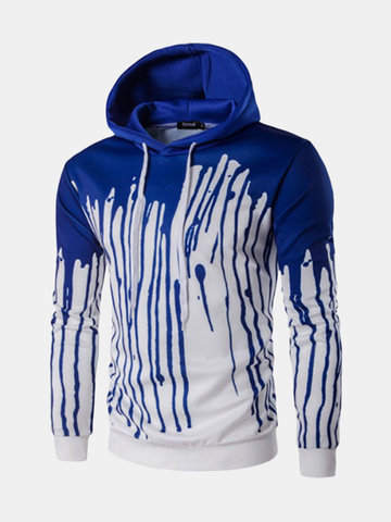 Mens Hoodies Pigment Flowing Down Printing Front Pocket Casual Sport Hooded Tops