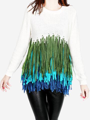 Women Christmas Stitching Tassels O-neck Sweater