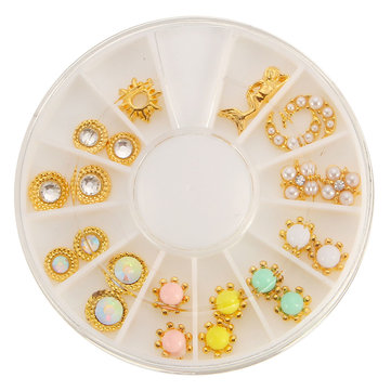 12 Mixed Styles Alloy Diamond Jewelry Nail Art Decoration