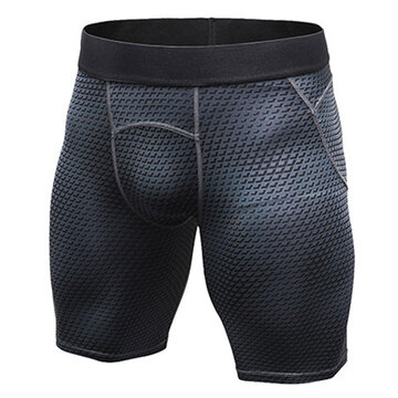 Mens 3D Printed Elastic Quick-drying Fitness Jogging Training Tights Sport Shorts