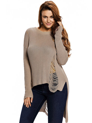 Solid Color Sexy Knit Hollow Long Sleeve O Neck Women Sweaters