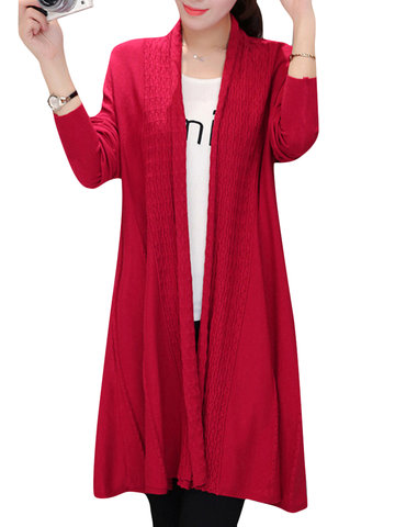 Crochet Soft Knit Elegant Pure Color Long Sleeve Women Cardigan