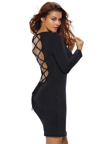 Sexy Women Backless Lace Up Bodycon Long Sleeve Dresses
