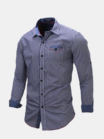 Повседневный бизнес Slim Fit Pure Cotton Small Plaids Печать Рубашки с длинным рукавом для мужчин