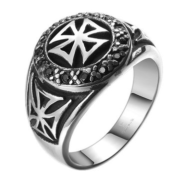 Stainless Steel Zircon Vintage Cool Cross Ring