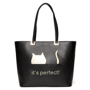 Women Cat Cartoon Pattern Lovely Style Shoulder Bag Handbag