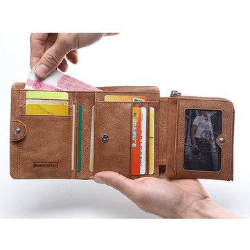 Leather Vintage Trifold Wallet For Men