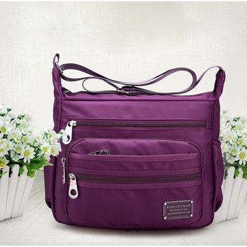 Women Nylon Crossbody Bag Multizipper Shoulder Bag