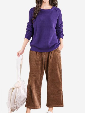 Vintage Loose O-neck Pure Color Basic Women Sweaters
