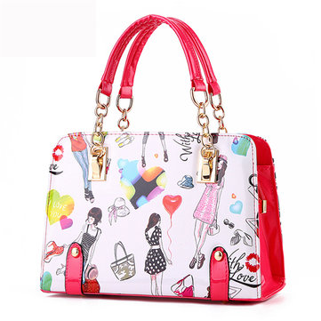 Women Girl Lovely Cute Bags Cartoon Pattern Handbags Shoulder Bags Crossbody Bags